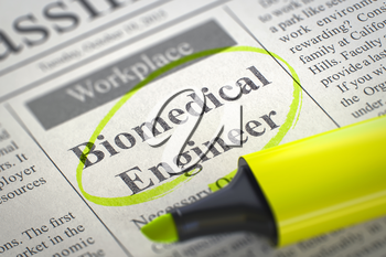 Biomedical Engineer - Vacancy in Newspaper, Circled with a Yellow Marker. Blurred Image. Selective focus. Job Search Concept. 3D.