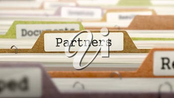 Partners - Folder Register Name in Directory. Colored, Blurred Image. Closeup View. 3D Render.