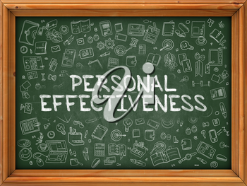 Green Chalkboard with Hand Drawn Personal Effectiveness with Doodle Icons Around. Line Style Illustration.