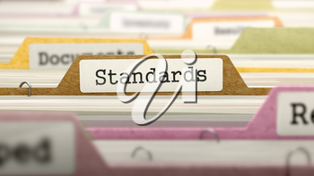 Folder in Colored Catalog Marked as Standards Closeup View. Selective Focus. 3D Render.