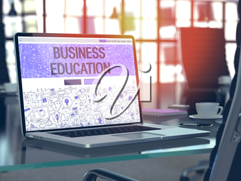 Business Education Concept - Closeup on Landing Page of Laptop Screen in Modern Office Workplace. Toned Image with Selective Focus. 3D Render.