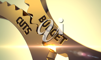 Budget Cuts - Illustration with Glow Effect and Lens Flare. Budget Cuts on Mechanism of Golden Metallic Gears with Lens Flare. Budget Cuts on the Mechanism of Golden Metallic Cog Gears. 3D.