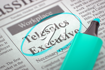 Newspaper with Advertisements and Classifieds Ads for Vacancy Telesales Executive. Blurred Image. Selective focus. Job Seeking Concept. 3D Render.