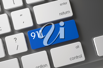White Keyboard Button Labeled 911. Blue 911 Button on Keyboard. Keypad 911 on Laptop Keyboard. Modern Keyboard with Hot Keypad for 911. 911 Button. 3D Render.