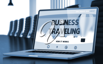 Business Traveling - Landing Page with Inscription on Mobile Computer Display on Background of Comfortable Meeting Room in Modern Office. Closeup View. Toned. Blurred Image. 3D Render.