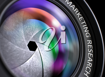 Marketing Research - Text on Front of Lens with Pink and Orange Light of Reflection. Closeup View. Camera Photo Lens with Bright Colored Flares. Marketing Research Concept. 3D Illustration.