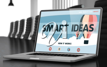Laptop Display with Smart Ideas Concept on Landing Page. Closeup View. Modern Meeting Room Background. Toned Image. Selective Focus. 3D Illustration.