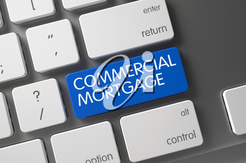 Keyboard with Blue Key - Commercial Mortgage. Commercial Mortgage Written on Blue Button of White Keyboard. Metallic Keyboard with the words Commercial Mortgage on Blue Keypad. 3D Illustration.