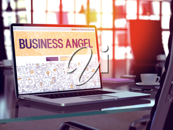 Business Angel Concept. Closeup Landing Page on Laptop Screen in Doodle Design Style. On Background of Comfortable Working Place in Modern Office. Blurred, Toned Image. 3D Render.