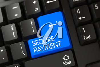 PC Keyboard with the words Secure Payment on Blue Button. Secure Payment Close Up of PC Keyboard on a Modern Laptop. Secure Payment Written on a Large Blue Button of a PC Keyboard. 3D Render.