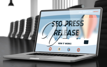 SEO Press Release - Landing Page with Inscription on Mobile Computer Screen on Background of Comfortable Meeting Room in Modern Office. Closeup View. Toned. Blurred Image. 3D Rendering.