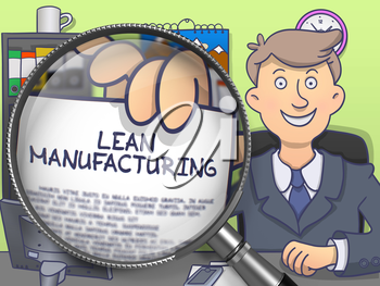 Lean Manufacturing. Cheerful Officeman Sitting in Office and Holding a Paper with Concept through Magnifier. Multicolor Doodle Style Illustration.