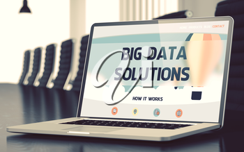 Big Data Solutions on Landing Page of Mobile Computer Screen. Closeup View. Modern Conference Hall Background. Blurred. Toned Image. 3D Render.
