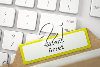 Client Brief written on Yellow Index Card on Background of Modern Laptop Keyboard. Archive Concept. Closeup View. Selective Focus. 3D Rendering.