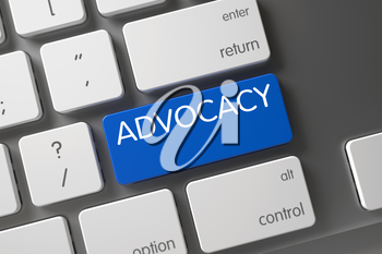Blue Advocacy Keypad on Keyboard. Button Advocacy on White Keyboard. Advocacy Concept: Modern Laptop Keyboard with Advocacy, Selected Focus on Blue Enter Button. 3D.