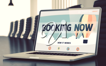 Mobile Computer Display with Booking Now Concept on Landing Page. Closeup View. Modern Meeting Hall Background. Toned Image. Blurred Background. 3D Rendering.