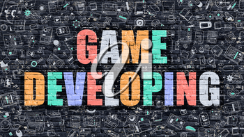 Game Developing. Multicolor Inscription on Dark Brick Wall with Doodle Icons. Game Developing Concept in Modern Style. Doodle Design Icons. Game Developing on Dark Brickwall Background.