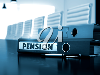 Pension - Business Illustration. Pension - Business Concept on Blurred Background. Pension - Ring Binder on Working Black Desktop. 3D.