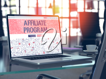 Affiliate Program Concept Closeup on Landing Page of Laptop Screen in Modern Office Workplace. Toned Image with Selective Focus. 3D Render.