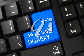Concepts of 48 Hours Delivery on Blue Enter Keypad on PC Keyboard. 3D Render.
