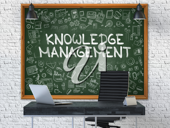 Knowledge Management Concept Handwritten on Green Chalkboard with Doodle Icons. Office Interior with Modern Workplace. White Brick Wall Background. 3D.