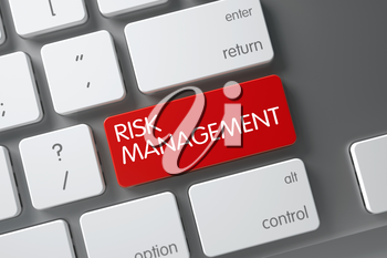 Concept of Risk Management, with Risk Management on Red Enter Button on Slim Aluminum Keyboard. 3D Illustration.