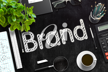 Brand. Business Concept Handwritten on Black Chalkboard. Top View Composition with Chalkboard and Office Supplies. 3d Rendering. Toned Image.