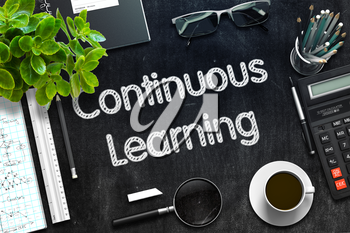 Continuous Learning on Black Chalkboard. 3d Rendering. Toned Image.