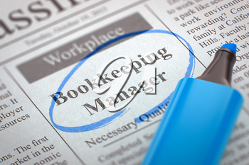 Bookkeeping Manager - Jobs Section Vacancy in Newspaper, Circled with a Blue Highlighter. Blurred Image. Selective focus. Job Seeking Concept. 3D.