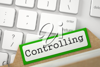 Controlling written on Green Index Card on Background of Modern Keyboard. Closeup View. Selective Focus. 3D Rendering.