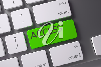 Access Concept: Modern Laptop Keyboard with Access, Selected Focus on Green Enter Button. 3D Render.