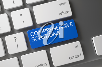 Concept of Comprehensive Solutions, with Comprehensive Solutions on Blue Enter Key on Modern Keyboard. 3D.