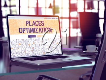 Modern Workplace with Laptop Showing Landing Page in Doodle Design Style with Text Places Optimization. Toned Image with Selective Focus. 3D Render.