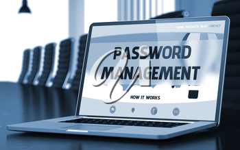 Modern Conference Hall with Laptop on Foreground Showing Landing Page with Text Password Management. Closeup View. Blurred Image with Selective focus. 3D Rendering.
