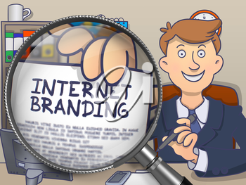 Man in Office Workplace Holding a Concept on Paper Internet Branding. Closeup View through Magnifying Glass. Multicolor Doodle Style Illustration.