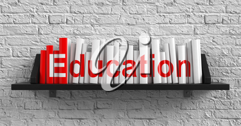 Royalty Free Photo of Books on the Shelf and the Word Education