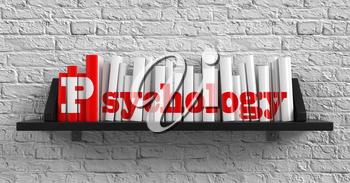 Royalty Free Clipart Image of Books on a Shelf and the Word Psychology