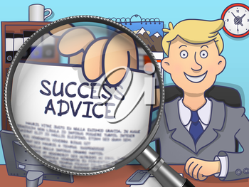 Success Advice. Man Holding a Text on Paper through Lens. Multicolor Doodle Style Illustration.