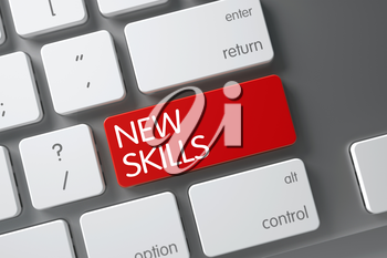 New Skills Concept Modernized Keyboard with New Skills on Red Enter Button Background, Selected Focus. 3D Render.