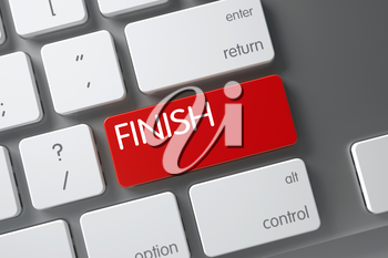 Finish Concept Metallic Keyboard with Finish on Red Enter Key Background, Selected Focus. 3D Render.