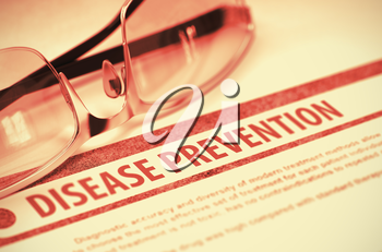 Disease Prevention - Medical Concept on Red Background with Blurred Text and Composition of Eyeglasses. 3D Rendering.