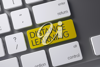 Concept of Distance Learning, with Distance Learning on Yellow Enter Keypad on Laptop Keyboard. 3D Illustration.