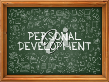 Personal Development - Hand Drawn on Green Chalkboard with Doodle Icons Around. Modern Illustration with Doodle Design Style.