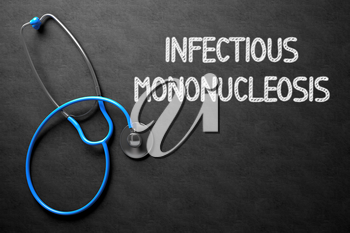 Medical Concept: Infectious Mononucleosis on Black Chalkboard. Medical Concept: Infectious Mononucleosis - Text on Black Chalkboard with Blue Stethoscope. 3D Rendering.