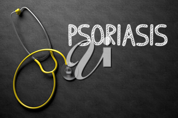 Black Chalkboard with Psoriasis - Medical Concept. Psoriasis. Medical Concept, Handwritten on Black Chalkboard. Top View Composition with Chalkboard and Yellow Stethoscope. 3D Rendering.