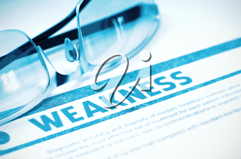 Weakness - Medicine Concept with Blurred Text and Glasses on Blue Background. Selective Focus. Weakness - Medical Concept on Blue Background with Blurred Text and Composition of Glasses. 3D Rendering.