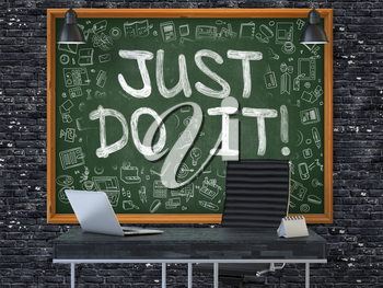 Green Chalkboard with the Text Just Do it Hangs on the Dark Brick Wall in the Interior of a Modern Office. Illustration with Doodle Style Elements. 3D.