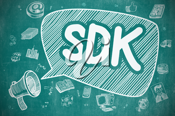 Speech Bubble with Wording SDK - Software Development Kit Hand Drawn. Illustration on Blue Chalkboard. Advertising Concept.