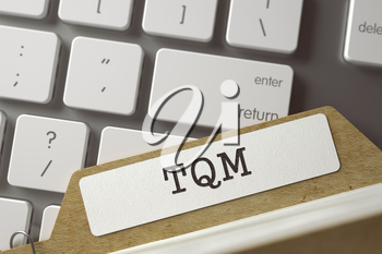 TQM. Card File Overlies White PC Keyboard. Business Concept. Closeup View. Selective Focus. Toned Illustration. 3D Rendering.