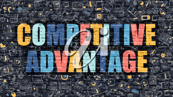 Competitive Advantage. Multicolor Inscription on Dark Brick Wall with Doodle Icons. Competitive Advantage Concept in Modern Style. Competitive Advantage Business Concept.
